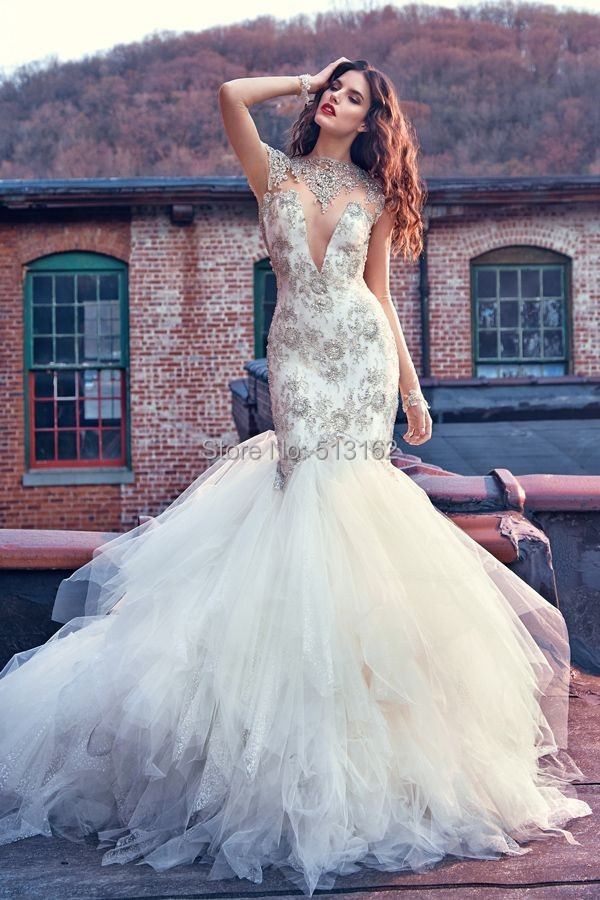 Gorgeous Mermaid Wedding Gowns beaded crystal sparkling high neck ...