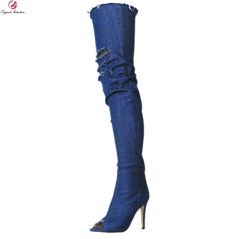 Original Intention Sexy Women Over-the-Knee Boots Stylish Peep Toe Thin Heels Boots Fashion Blue Shoes Woman Plus US Size 4-20 original intention high quality women over knee boots fashion patchwork spike heels boots shoes woman plus us size 4 15