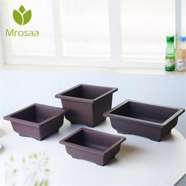 Top Quality Garden Pots Antique Imitation Plastic Flower Pot Balcony Square  Flower Bonsai Bowl Nursery Pots