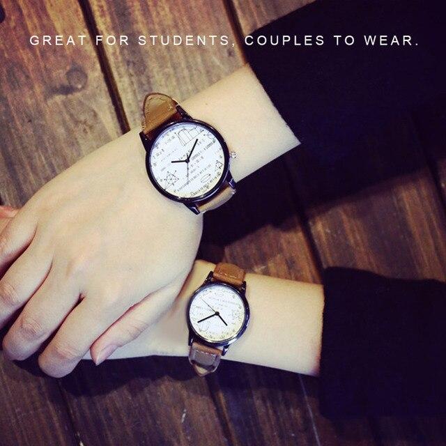 Fashion Creative Mathematical Formulas Pattern Watch Lovers Unique Dial Quartz C