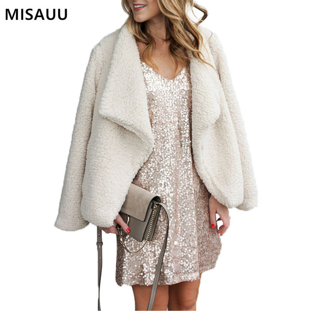 MISAUU Fashion Women Winter Warm Faux Fur Coat Long Sleeve Jacket 2018 Jacket Female Overcoat Casual Outerwear Open Stitch