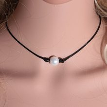 2019 New Fashion Hot Styles Genuine Leather Choker Necklace Perfect Imitation Pearl choker Pearl Jewelry(China)