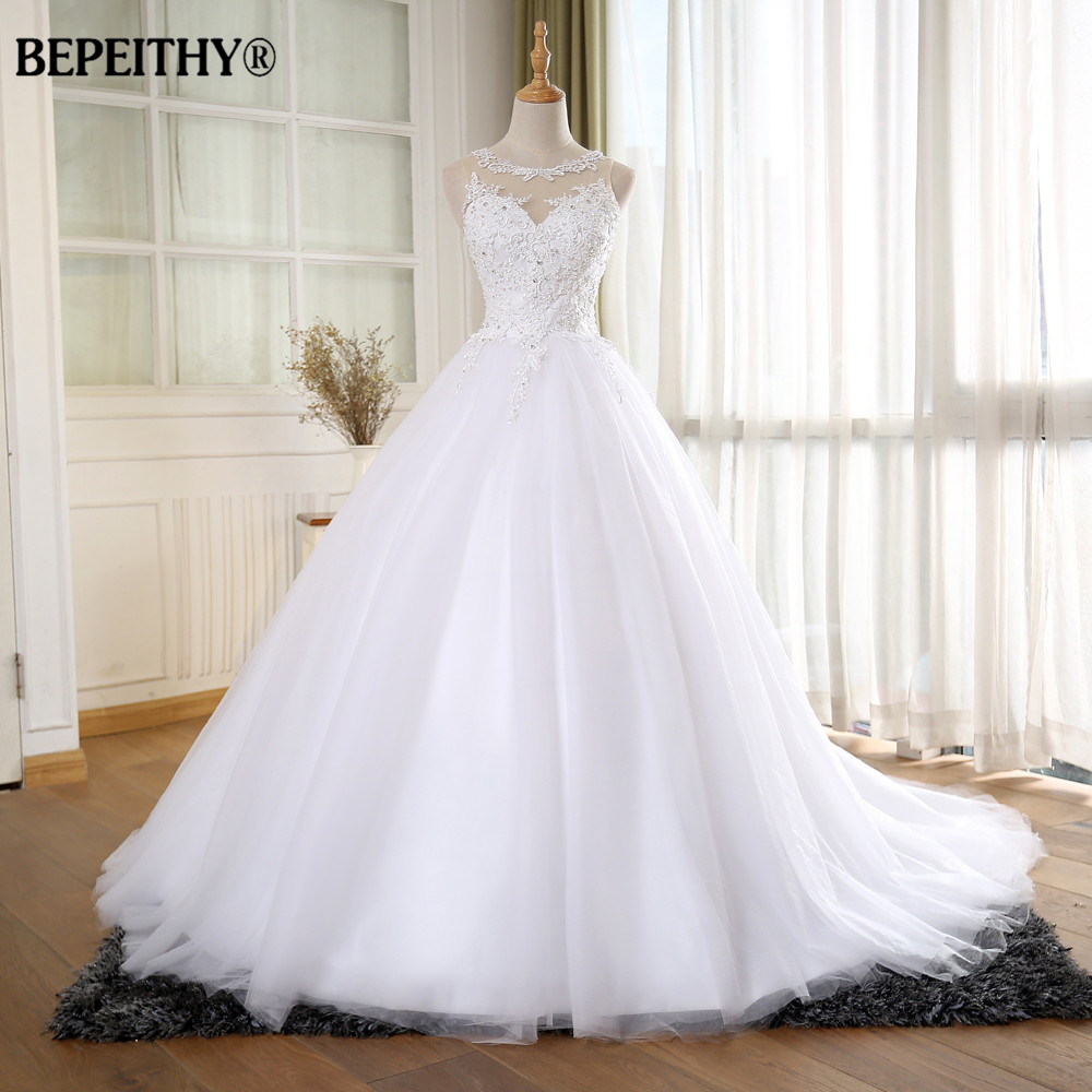 BEPEITHY Ball Gown Vintage Wedding Dress With Pearls