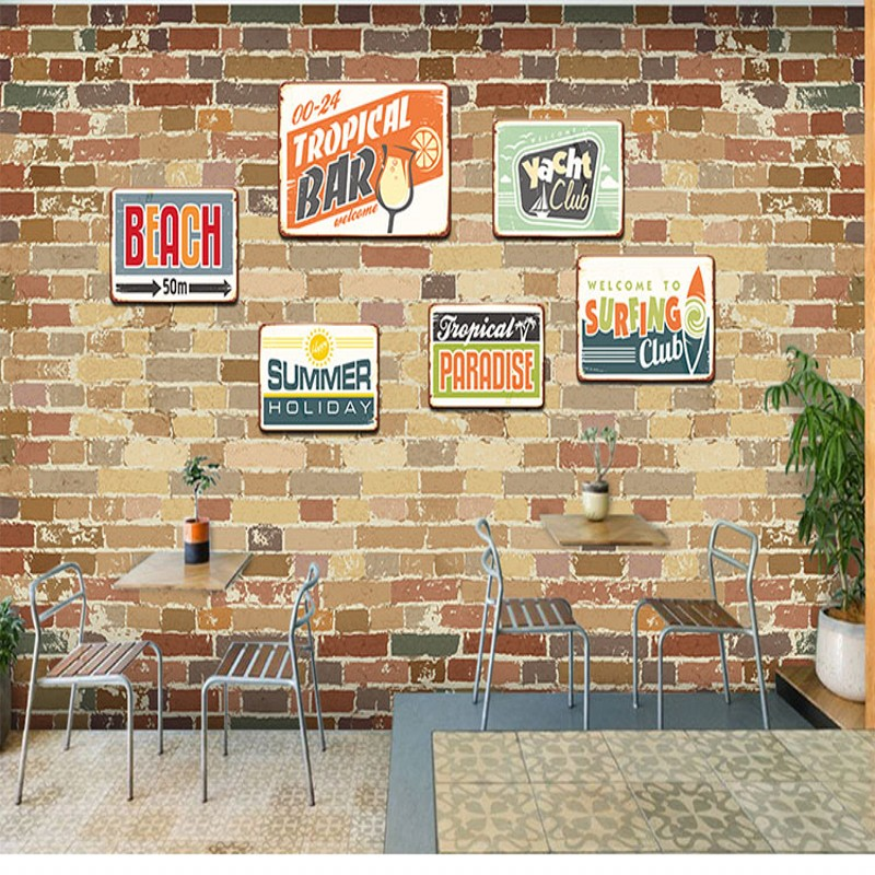 цены Photo wallpaper Retro personality brick wall mural coffee shop wallpaper milk tea fast food shop restaurant custom wallpaper