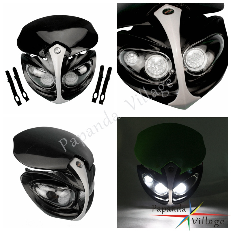 Papanda Motorbike Black Off Road Dual Sport Headlight Universal Motorcycle Headlamp Enduro for Honda CB300F CBR CTX700 Мотоцикл