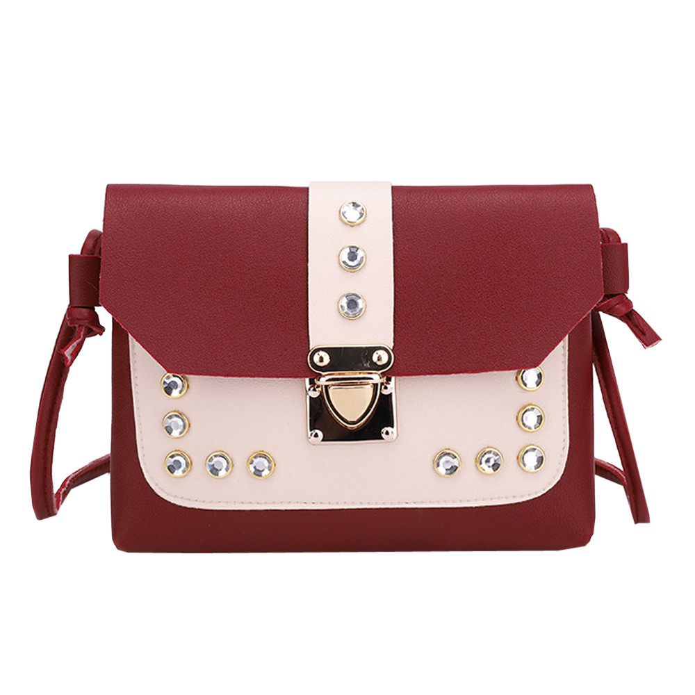 Satchel Tote Crossbody-Bag Messenger Rhinestone Color Women Fashion Versatile Panelled