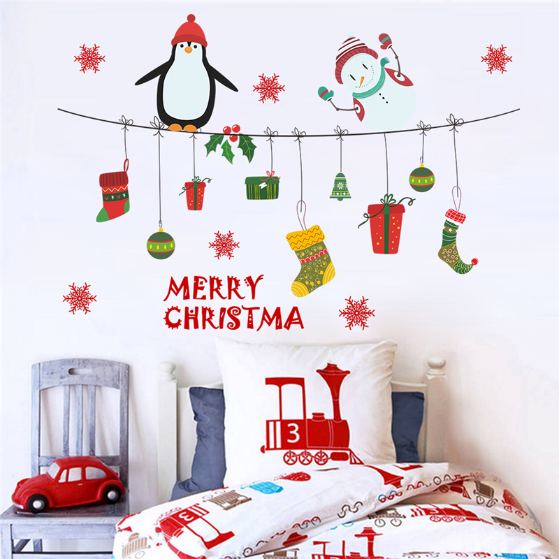 Christmas Wall Sticker Tree and Snowman Wall Window Shop Quote Sticker