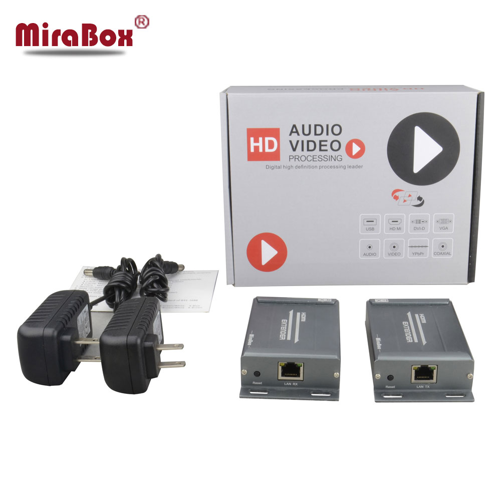 MiraBox HDMI Over IP/TCP Extender Support 1080p/1080i/720p Up to 120 meters HDMI Extender With 3.5mm Audio Extractor For HD TV hsv379 sdi hdmi extender with lossless and no latency time over coaxial cable up to 200 meters support 1080p hdmi extender