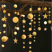 4M Twinkle Star Round Shape Banner Paper Garlands Baby Boy Girls Happy First Birthday Party Decorations Wedding Christmas Banner(China)