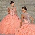 Melocotón Coral Quinceanera vestidos vestido de bola 2016 largo moldeado acanalado vestido plisado 15 años cariño acanalada blusa envío gratis