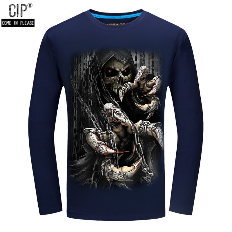 Free Shipping Skull Fashion T shirts Men's long Sleeve Brand Design Autumn style male Tops Tees Casual T shirts For Man