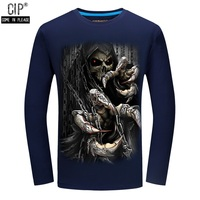 Free Shipping Skull Fashion T Shirts Men S Long Sleeve Brand Design Autumn Style Male Tops