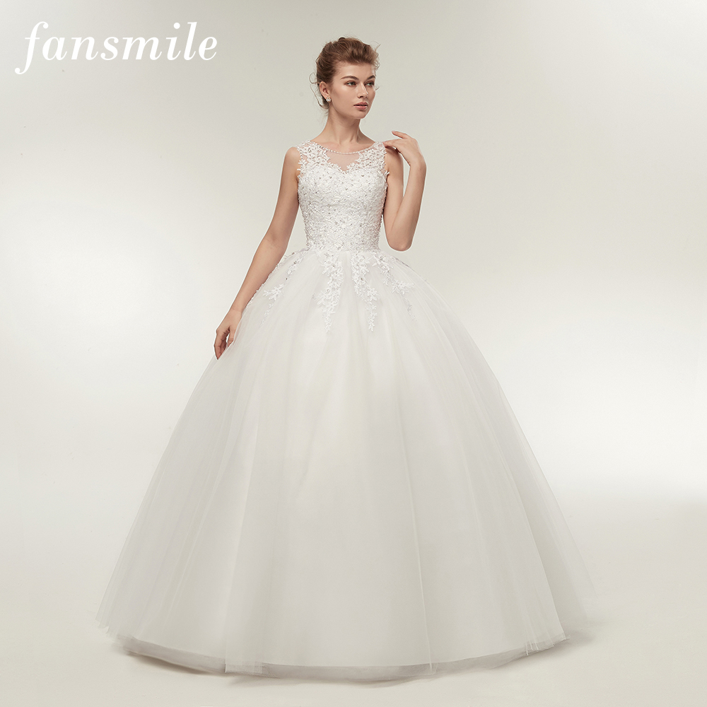 Fansmile Real Photo Vintage Lace Up Ball Wedding Dress 2019 Customised Plus Size Bridal Wedding Gown