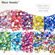 AB Color Rhinestone With Silver Plane Bottom 3D Nail Art Decoration Mixes 6 Size NRE