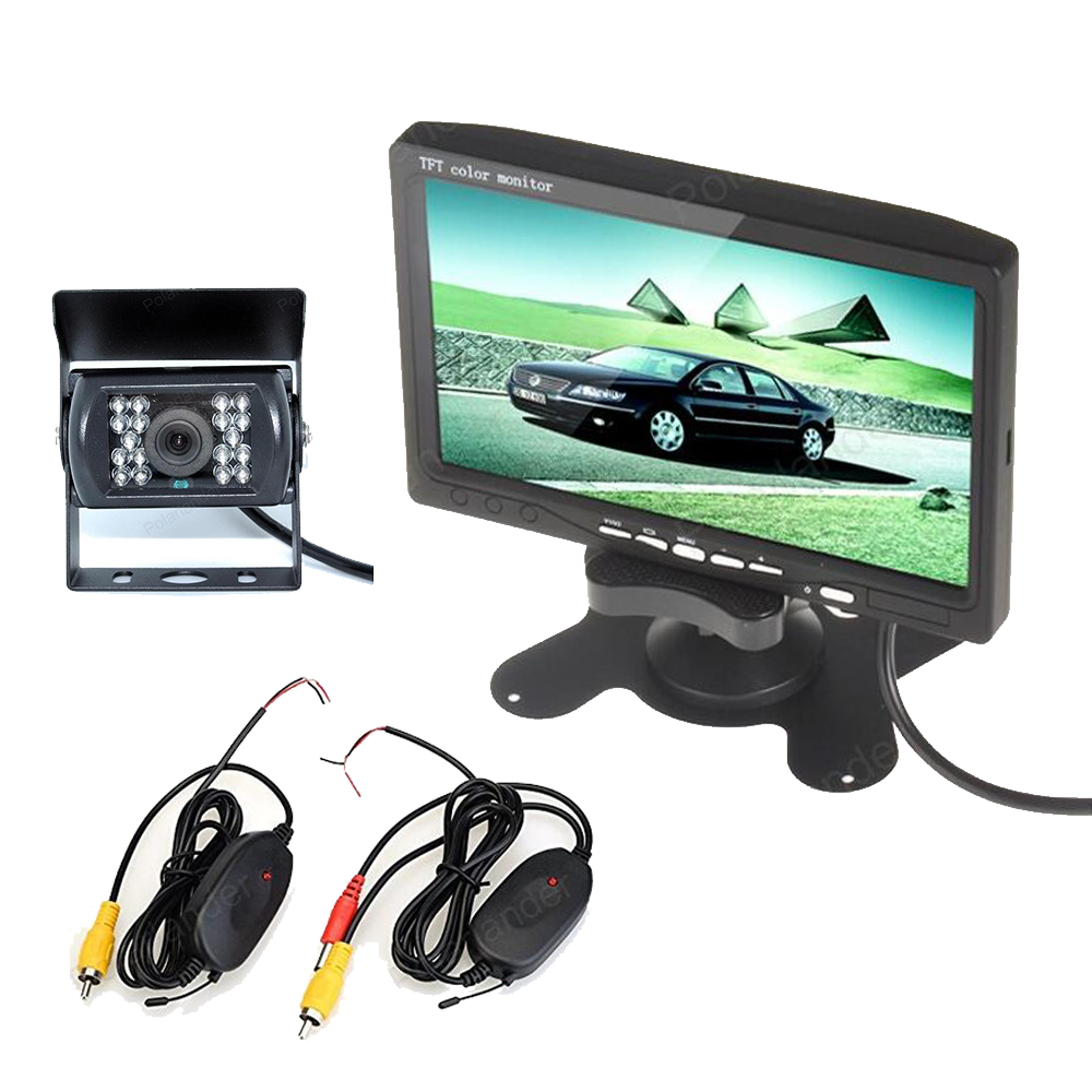 wireless 7 Inch TFT LCD Display Screen car Monitor 2 AV with 18 LED night vision Rear View camera transimitter receiver