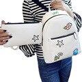 Diseñador simple pequeña mochila mujeres mochilas de viaje de cuero de la pu señoras de la manera blanco negro gris hembra mochila back bolso xa890b