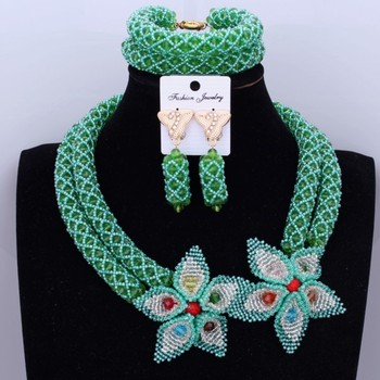 Dudo African Jewelry Set Nigerian Wedding 2017 Green Bridal Necklace Set For Black Women Fashion Celebrity Party Free Shipping