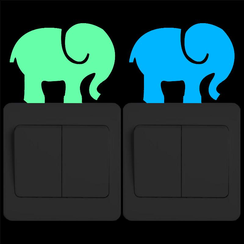 Cartoon Elephant Glow in the Dark Vinyl Wall Stickers Funny Animal Art Wall Decals for Kids Rooms Bedroom Living Room Home Decor