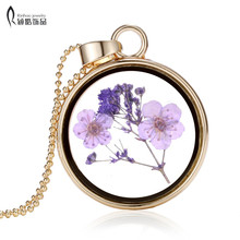 Handmade purple dry flower glass pendant necklace vintage high-grade dried flower necklace for women jewelry Gift(China)