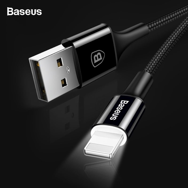 Baseus LED Light USB Cable For iPhone X XS Max XR 8 7 6 6s 5 iPad Fast Charging Charger Data Cord Adapter Mobile Phone Cables in Mobile Phone Cables from Cellphones Telecommunications