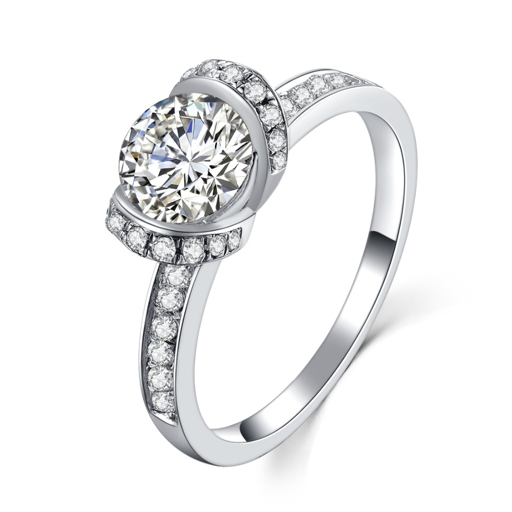 Pt950 Engraved 1ct Classic Ring Sterling Silver In 18k White Gold Sona  Dependable Diamond For Women