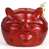 V wood carved rosewood handicrafts piggy pig rich cute piggy bank change