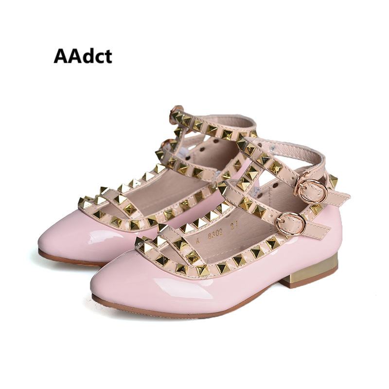 AAdct 2018 Autumn Princess leather rivets shoes for glitter girls Soft high- heeled party children 61edfbc44a81