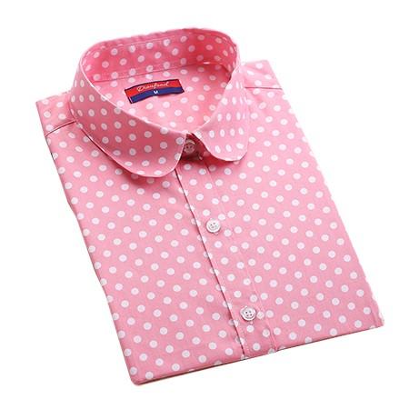 2016 Plus Size Polka Dot Bawełna Kobiety Bluzki Koszule Długie rękaw Kobiety Koszule Turn Down Collar Bawełna Dorywczo Koszula Kobiet topy 11