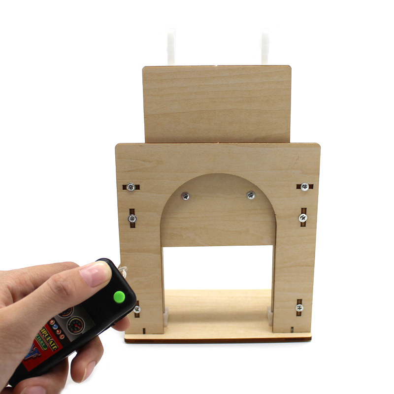DIY Automatic Rising Wooden Door Model Remote Control STEM Toys Educational Learning Houseing Door Model Electric Teaching Aids