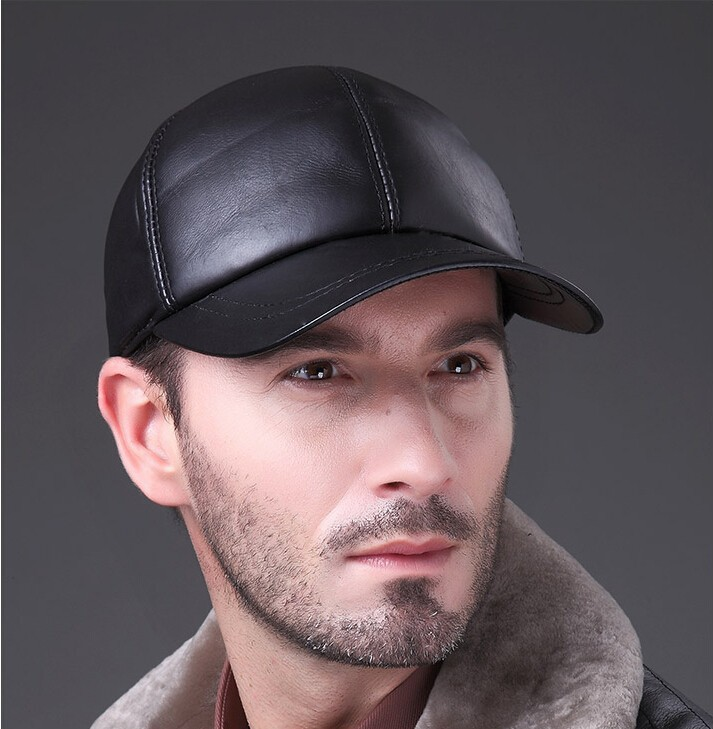 Man Wearing the Deluxe Leather Adjustable Black Baseball Cap - Mirror Image