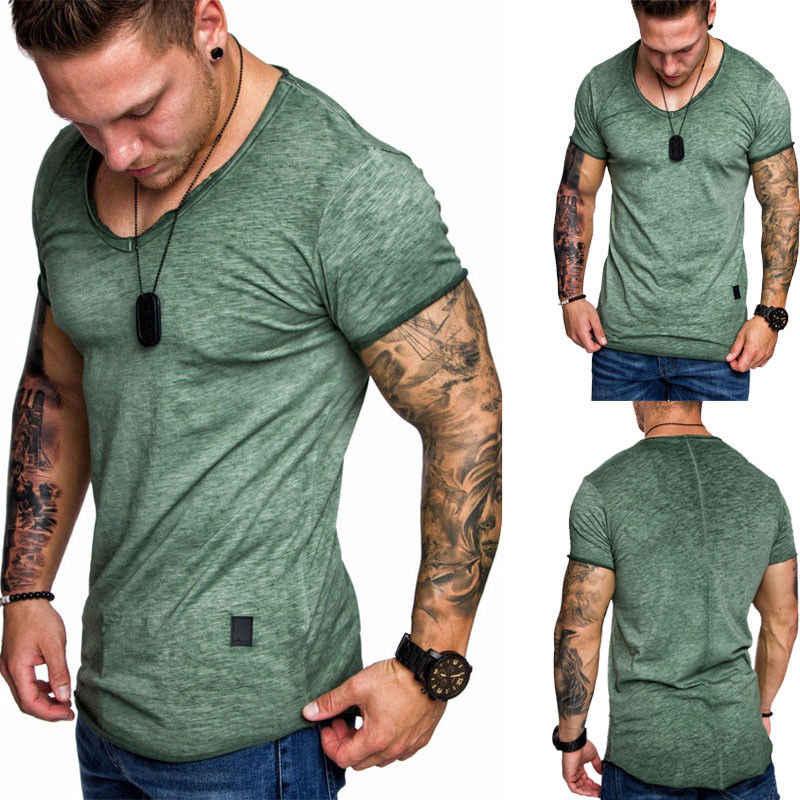 2018 חדש לגמרי גברים של קצר שרוול מוצק טהור צבע O O-neckt חולצה Slim Fit מקרית חולצות קיץ בגדי שרירים ספורט טי