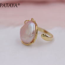 hot deal buy pataya new arrivals fashion natural freshwater irregular pearls big open gold rings women romantic luxury wedding party jewelry