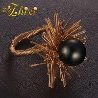 ZHIXI натуральный таитянский жемчуг кольцо Fine Jewelry черный жемчуг обручальные кольца для Для женщин Гипербола День рождения Подарочная коробк