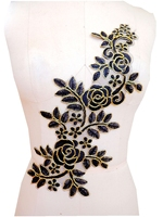 Sew On Black Lace Applique With Golden Wire Edge Delicate Embroidered 36 15cm
