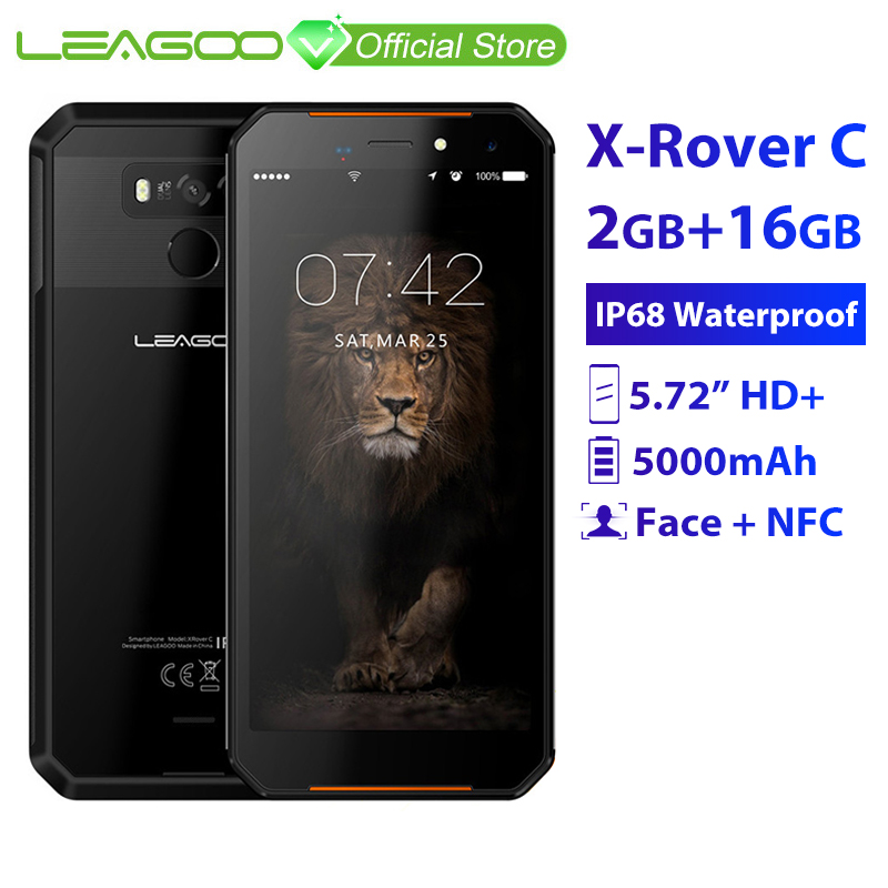 """LEAGOO X Rover C IP68 Waterproof Smartphone 5.72"""" mtk6739 Quad Core 2GB 16GB 13MP 5000mAh Face Fingerprint ID Rugged Phone-in Cellphones from Cellphones & Telecommunications    1"""