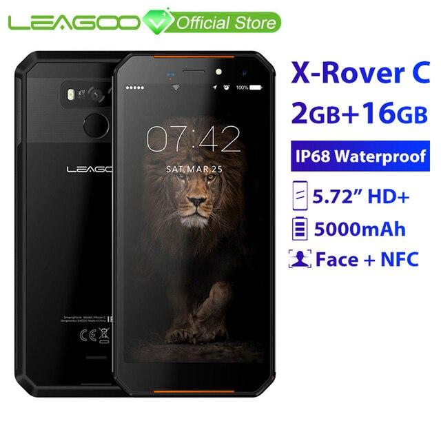"LEAGOO X-Rover C IP68 Waterproof Smartphone 5.72"" mtk6739 Quad Core 2GB 16GB 13MP 5000mAh Face Fingerprint ID Rugged Phone"