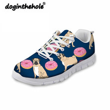 Doginthehole Pug Pattern Sneakers Women Walking Shoes Breathable Mesh Chaussure Female Outdoor Sport Athletic Footwears