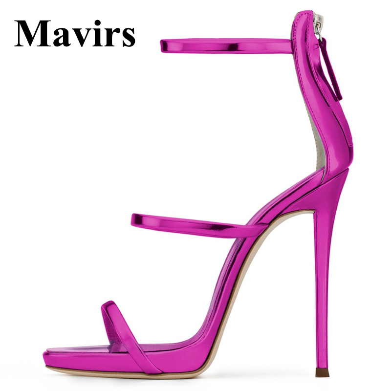 MAVIRS Brand 12CM Extreme High Heels Sandals Woman Pumps Stiletto Shoes Blue Black Roes Gold Gladiator Sandalias US Size 5-15