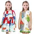 Baby Girl Dress 2016 Brand Fashion Princess Dress Designer Character Painting Kids Dresses for Girls Clothes Vestido Infantil
