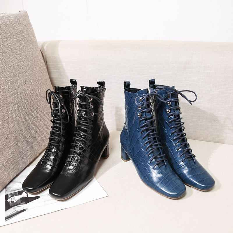 ALLBITEFO yüksek kalite hakiki deri kadın çizmeler Sonbahar Kış yarım çizmeler Kare ayak eğlence moda çizmeler Bandaj