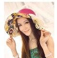 50 шт./лот fedex быстрая свободная перевозка груза корейский стиль женщины большой брим цветочные солнце соломенная шляпа большая шляпа повседневная пляж лук вс шляпа