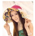 50pcs/lot fedex fast free shipping korean style woman large brim floral sun hat straw big hat casual beach bow sun hat