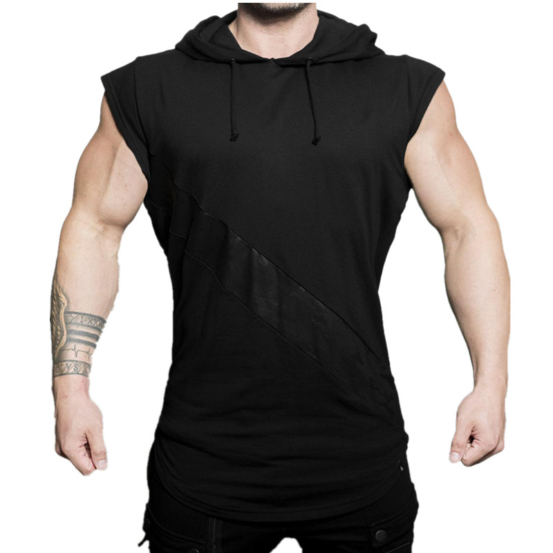 YEMEKE 2019 Men's Cotton Sleeveless Hoodie Bodybuilding Workout   Tank     Tops   Muscle Fitness Shirts Male Fashion vest