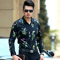 2016 Autumn Latest Style Mens Floral Fashion Design Long Sleeve Printed Dress Shirts