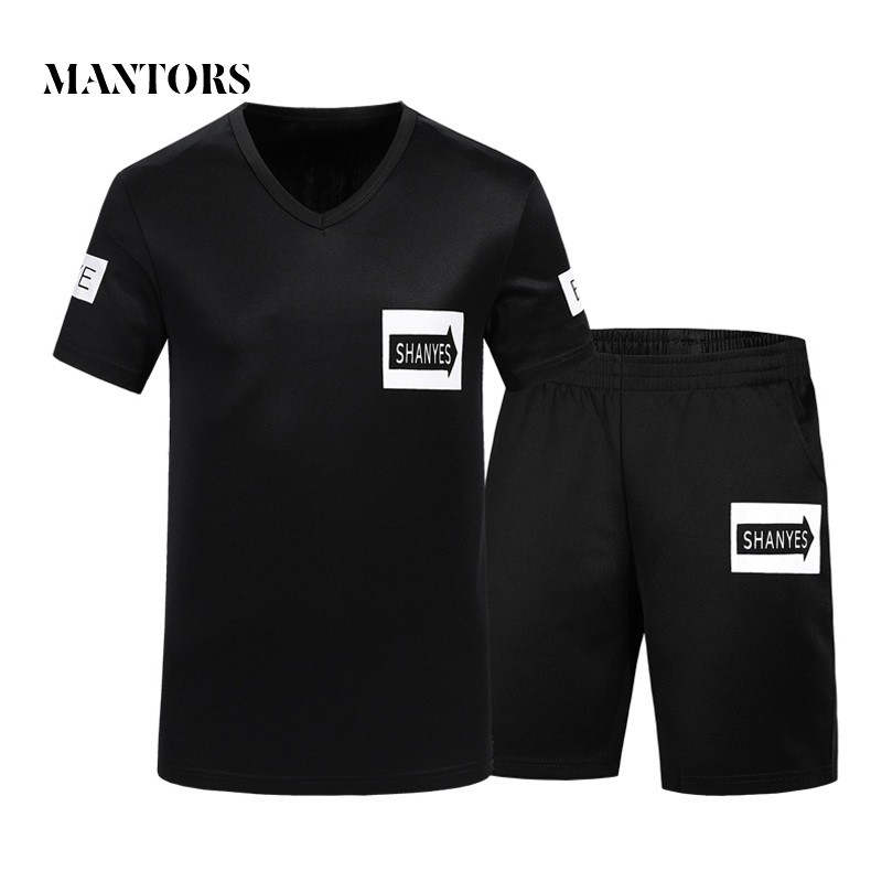 New Casual Tracksuit Men Summer Loose Sportswear Sets Letter Printing Short-Sleeved T-Shirt +Shorts Sets Male Fashion Sportswear