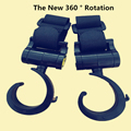 2 Pcs Baby Stroller Accessories Multifunction Stroller bag Hook 360 Degrees Rotation Hook Black High Quality Plastic Prams Hook