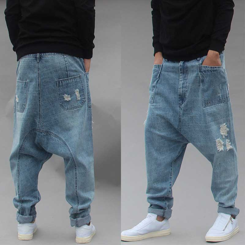 Distressed Streetwear Ripped Harem Jeans Men Casual Loose Baggy Trousers Hip Hip Dropcrotch Denim Pants Male Clothes Big Size