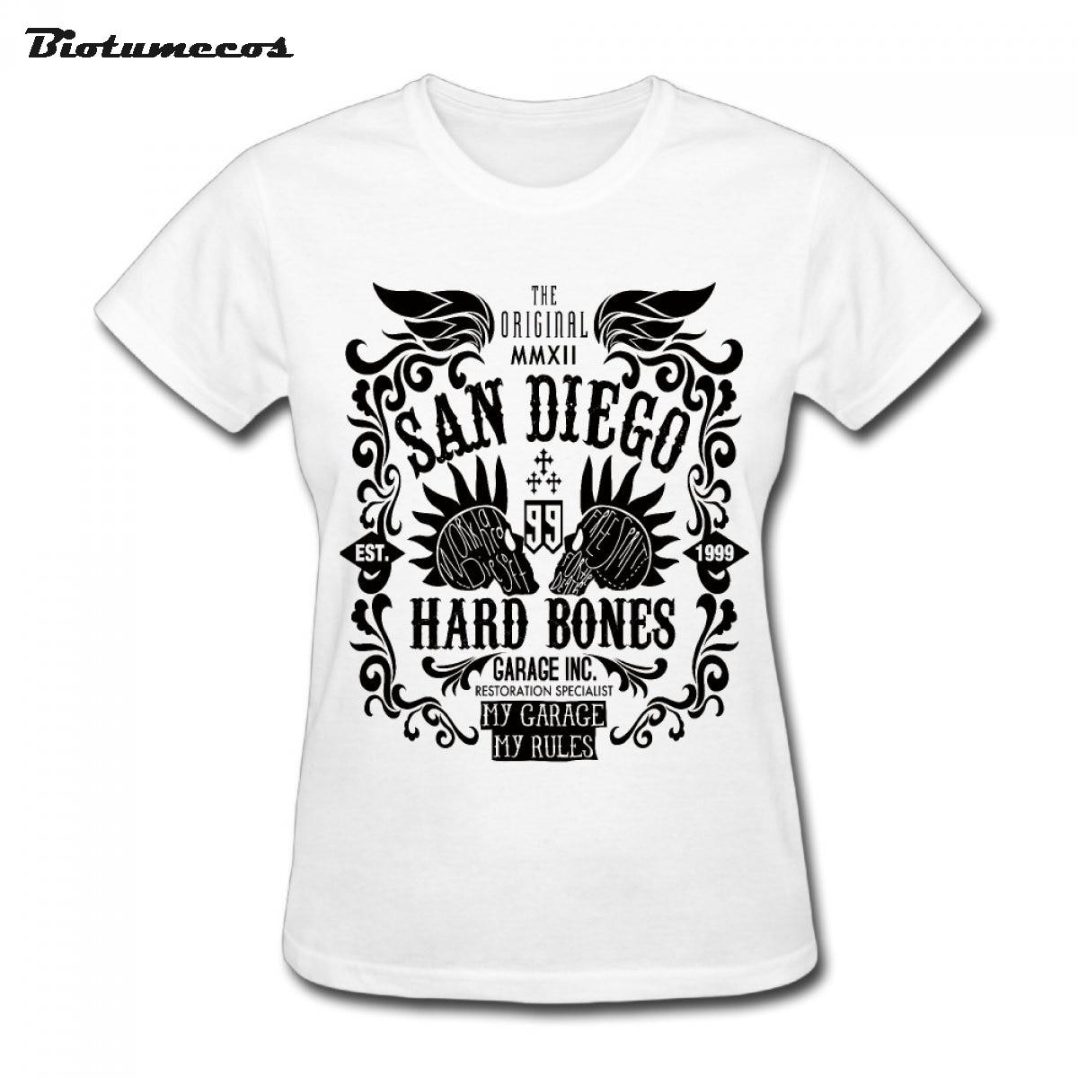 Punk Women T Shirts Short Sleeve San Diego Hard Bones My