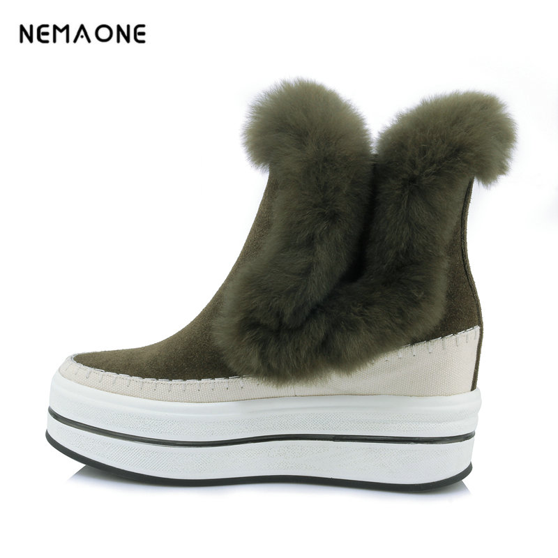 NEMAONE 2018 women winter ankle boots cow leather boots fur zipper suqare heel round toe platform shoes 2018 fashion cow leather zipper superstar winter boots women round toe low heel solid concise pregnant chelsea ankle boots l08