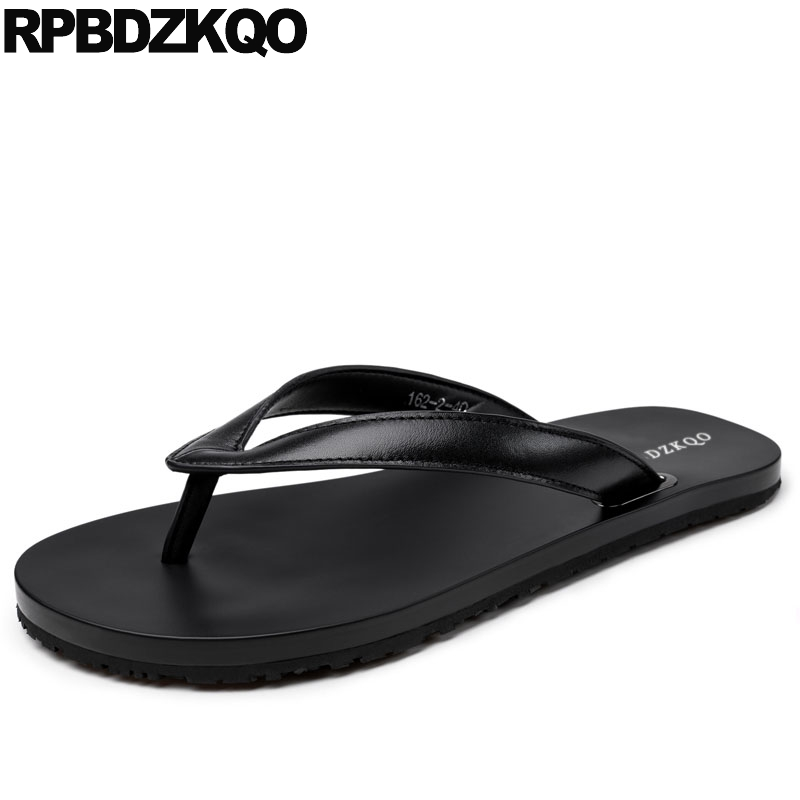 designer shoes men high quality outdoor beach luxury genuine leather italian slippers sandals flip flop soft summer slides black